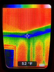 Infrared showing cold section needing insulation